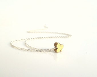 Little clover necklace - .925 sterling silver chain and tiny aged solid brass 3 leaf clover - simple minimalist mixed metal - IRISH LUCK