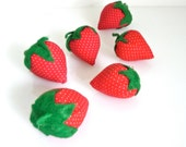 Vintage Strawberries - Set of 6 Medium Stuffed Fruit - Handmade Findings - Faux Fruit - Pin Cushion - Cottage Chic - Sewing Lover