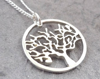 Hand cut Sterling Silver Circle Tree Pendant
