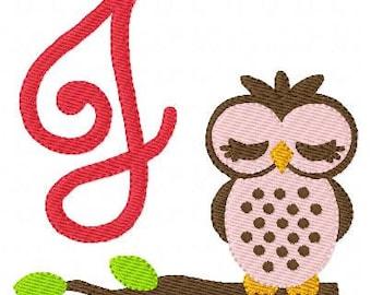 Owl Machine Embroidery Monogram Design Set, Machine Embroidery Designs, Embroidery Font // Joyful Stitches