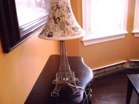 Eiffel Tower Parisian Table Lamp Custom Bell Shaped Fabric