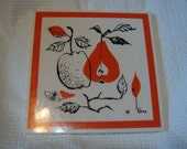 Vintage Vera Neumann Tile Ladybug Apple Fruit Butterflies