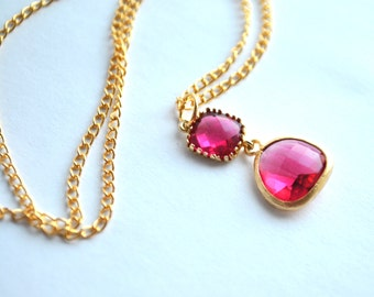 Pink  Necklace Fuchsia Glass Teardrop in 14k gold plate Bridesmaids Gifts Sets 1, 2, 3, 4, 5, 6, 7, 8, 9, 10
