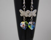 Millefiori Glass Hearts and Butterfly Earrings