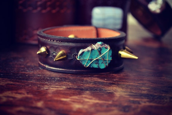 LUX Recycled Leather Turquoise Gemstone Spike Stacking Cuff