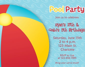 Pool party birthday invitation --  pool party -  swimming party