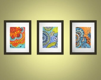 Any 3 5x7 sized prints for 32 dollars. Prints of original ink and acrylic paintings
