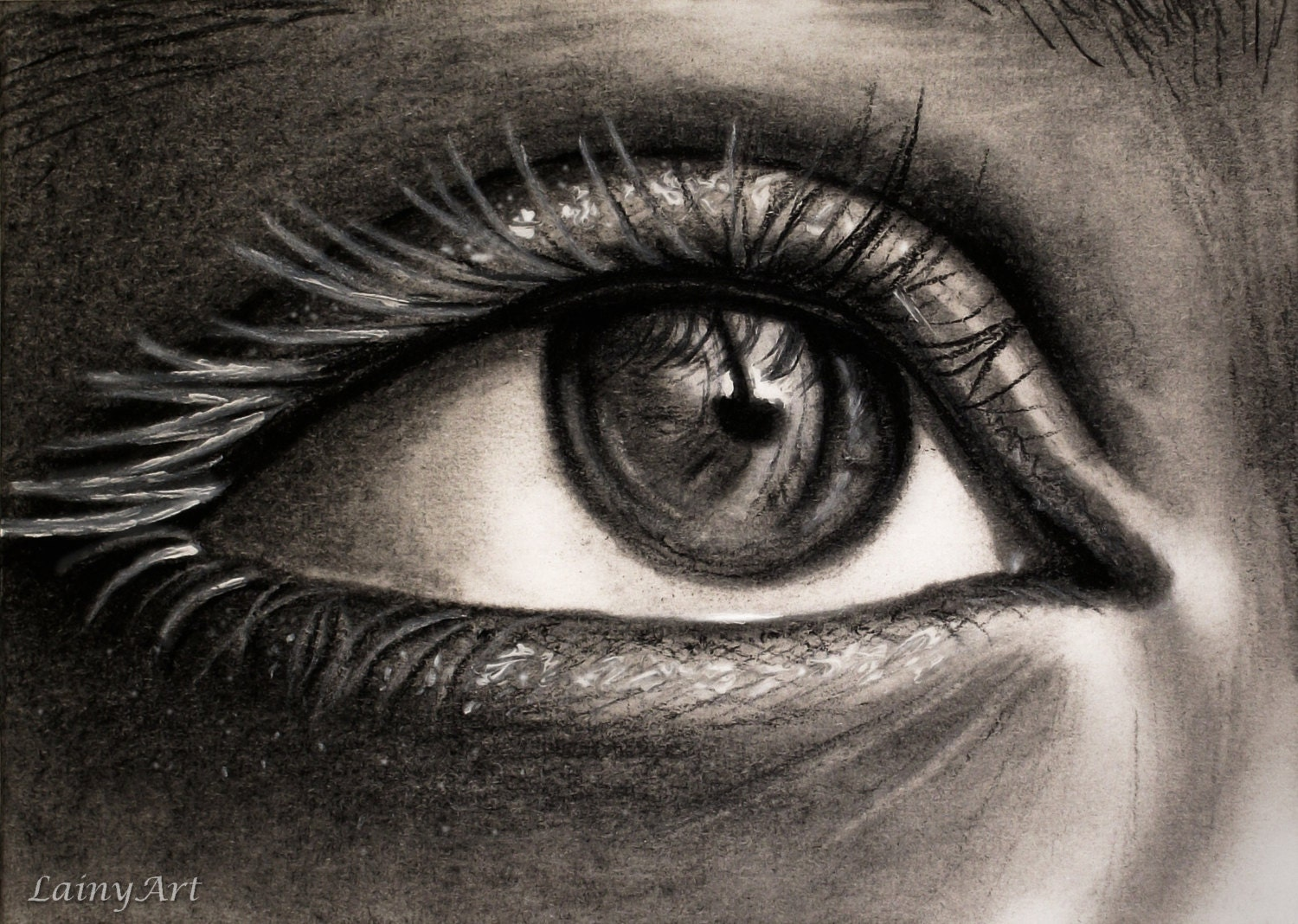 Eye Macro Drawing Matted 8x10 Watercolor Print Charcoal