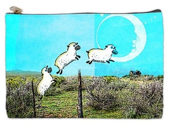 Counting Sheep Cosmetic Makeup Bag, Sheep jumping over a fence makeup pouch, half moon cosmetic pouch, Counting Sheep travel pouch
