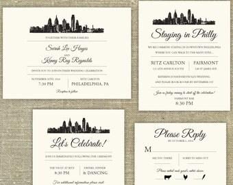 Philadelphia Skyline Destination Wedding invitation; SAMPLE ONLY