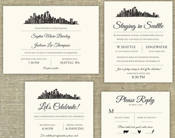Seattle Skyline Wedding invitation suite; SAMPLE ONLY