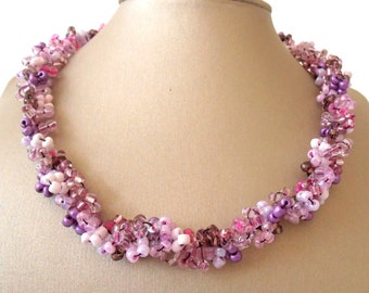 Rich Shades Of Pink Necklace, Crochet Necklace, Knitting Jewelry, Gift For Holiday, Summer Time, Women Jewelry