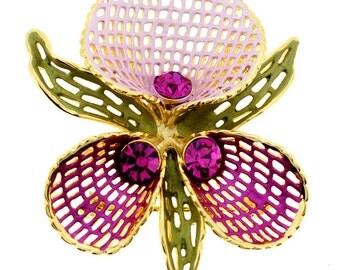 Fuchsia Orchid Swarovski Crystal Pin Flower Pin Brooch 1003361