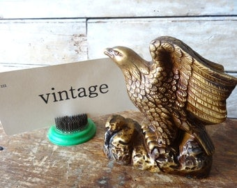 Vintage Eagle Ceramic Gold Antiqued Figurine