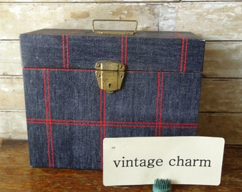 Vintage Industrial  Blue Jean an Red Metal File Box