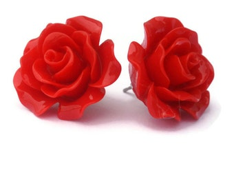 Pinup Red Rose Earrings Rockabilly Large Flower Jewelry