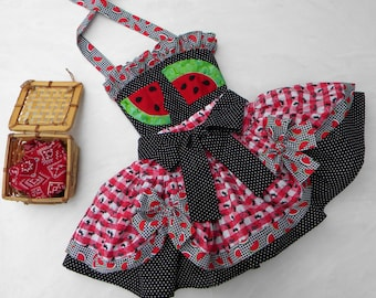 Toddler-Girls Watermelon Picnic Pageant-Party Dress, Black-White-Red Two Layer Skirt & Halter, Watermelon Appliques, sizes 12 month thru 10