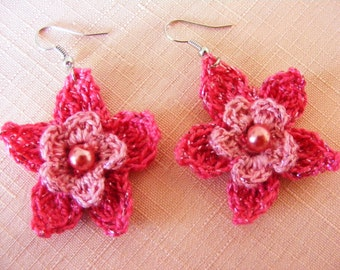 Crocheted earrings of Egyptian cotton in bright and dark pink and white and blue with a white pearl