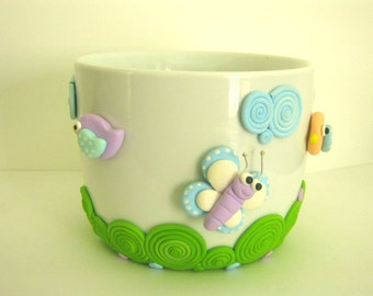 Desk pen holder Birds and Butterfly - Polymer Clay