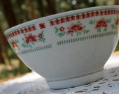 vintage red and turquoise floral bowl