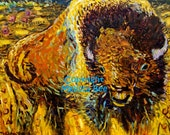 American Bison Giclee Print 8x10 by Melissa BEE