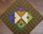 Plum, Avocado, Mustard, and Cream Quilted Table Runner in Log Cabin