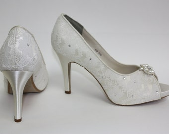 Lace Platform Wedding Shoes - Crystals - Pearls - Platform Wedding Shoes - Choose From Over 100 Colors - Heel Is 3.5 Inches - Peep Toe Heels