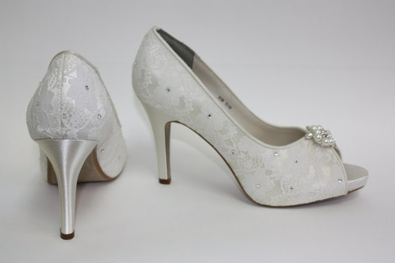 lace platform wedding shoes crystals pearls by parisxox on