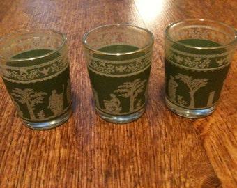Jeannette Jasperware Green Hellenic Roman Shot Glasses, Set of 3