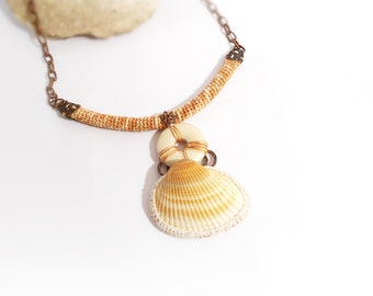 Seashore Art Necklace, Crochet Tube Tribal Style Jewelry, Natural Sea Shell Pendant
