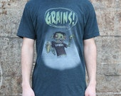 Vegan Zombie Grains T-shirt, Men's / Unisex American Apparel Heather Green Blue Tee