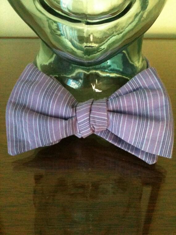 Purple Pinstripe Bow Tie