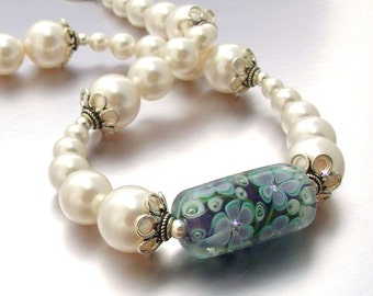Fancy Lampwork Focal Bead Necklace with Swarovski Pearls