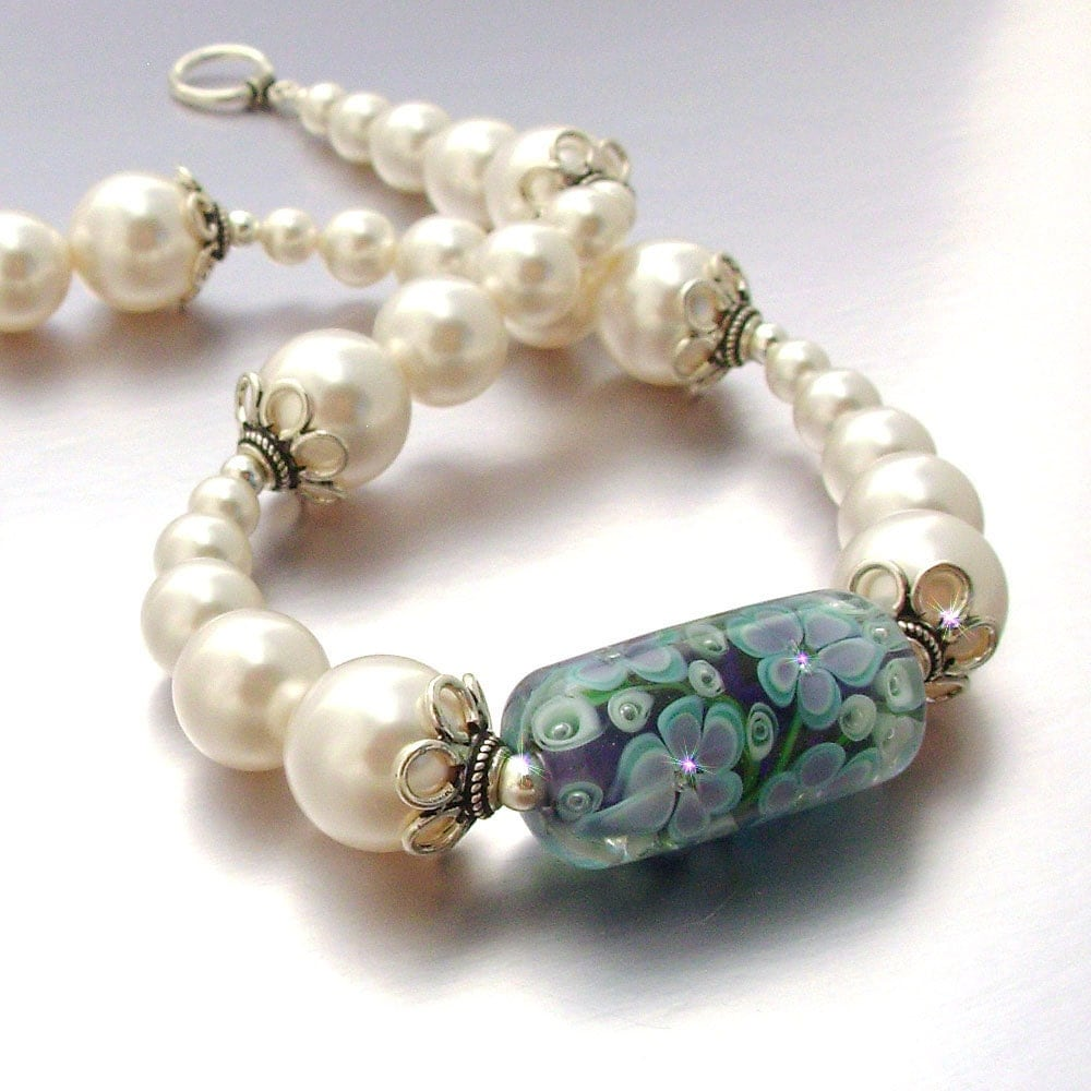 Fancy beads necklace : Fancy lampwork focal bead necklace with by styledinstones on etsy
