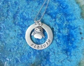 Personalized penguin necklace in sterling silver hand stamped with name monogram or initial - gift for mom