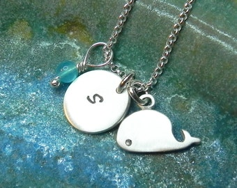 Personalized baby whale necklace in sterling silver with hand stamped round disc and birthstone