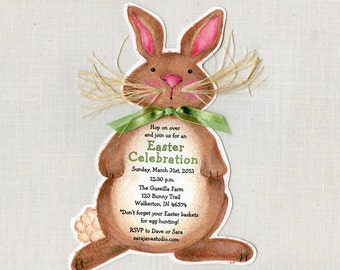Personalized - Easter - Birthday - Bunny - Party - Invitations - Handcut - Rabbit - Brown Bunny - Invite - Sara Jane - Printed - Set of 10