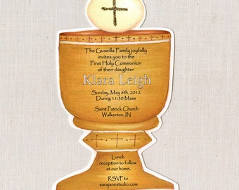 20 Gold Holy Chalice | First Communion Invitations | 5x7 Personalized Invite | Religious Invitation | Communion Invitation | Holy Cup Invite