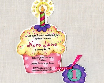 35 Cupcake Birthday Party Invitations - Handcut & Personalized