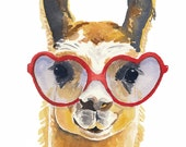 Llama Watercolour PRINT, Watercolor Painting, Llama Illustration, 11x14 Art Print, Open Edition