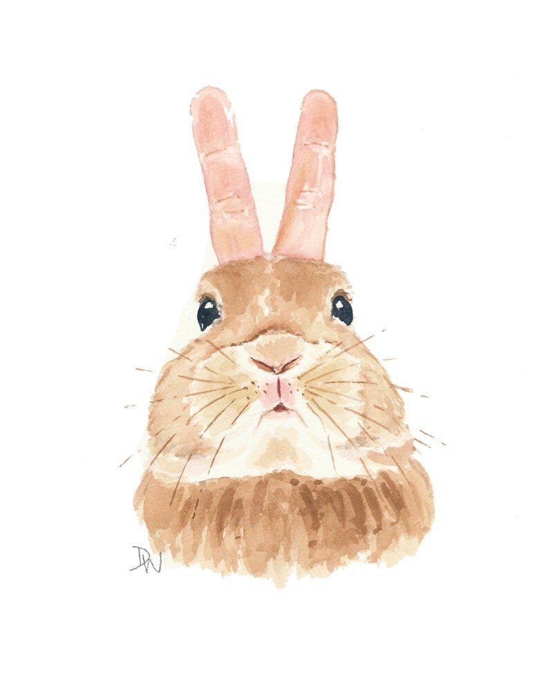 Rabbit Watercolor Bunny Painting Original Art Bunny Ears