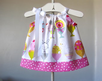 Baby Girls Easter Dress - Dress and Bloomers - Chicks, Bunnies & Lambs with Polka Dots - Infant Sun Dress - Size Nb, 3m, 6m, 9m, 12m or 18m