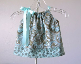 Baby Girls Pillowcase Dress and Bloomers Outfit - Paisley and Plumes - Aqua Sun Dress - Size Newborn, 3m, 6m, 9m, 2m or 18m