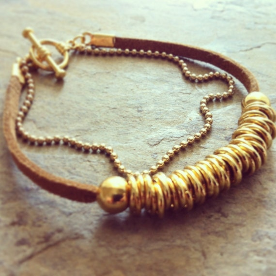 Gold links bracelet with suede - Suede gold bracelet - Gold beaded bracelet - Gold ball chain