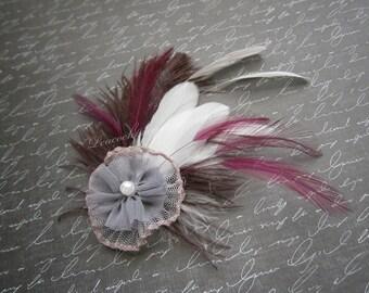 Feather, Feathered, Fascinator, Accessories, Gray, Purple, Plum, bridal, wedding, hair, clips, white, fascinators - PRINCESS PURPLE