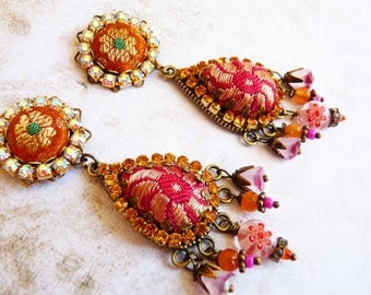 burnt red and coral sari drop earrings silk brocade rhinestone studs