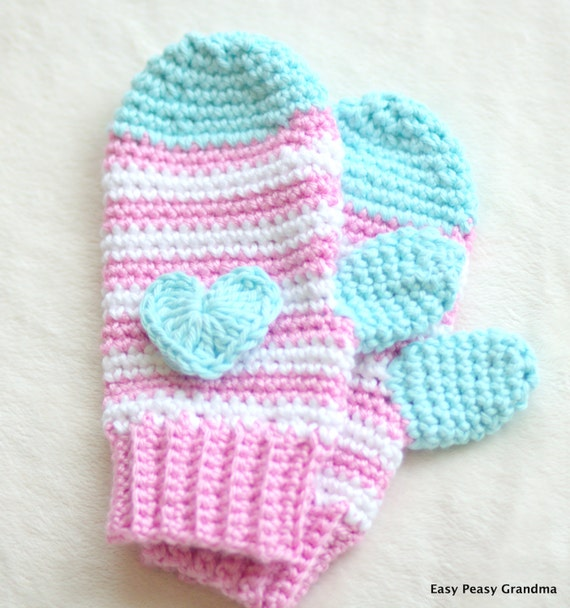 CROCHET PATTERN: mittens gloves pattern four sizessmall