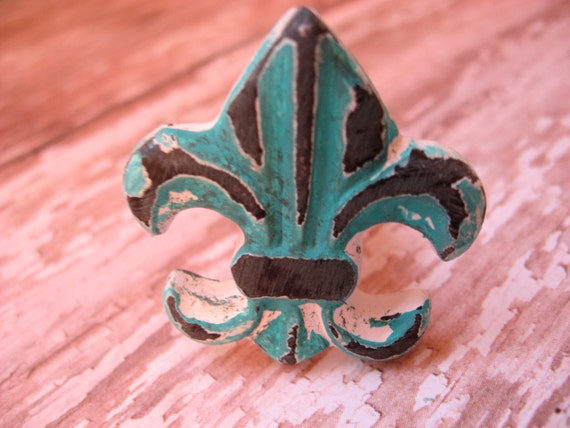2 Distressed Fleur de Lis Knobs in Your Choice Pictured in Turquoise Cast Iron Small Drawer Cabinet or Pulls For Furniture B-10