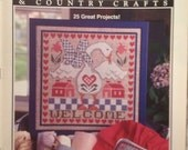 Back Issue Cross Stitch Country Crafts Jan Feb 1993 Goose Winter Fox Finger Puppets Christmas Santa Reindeer Mrs Claus Elf Western Barn