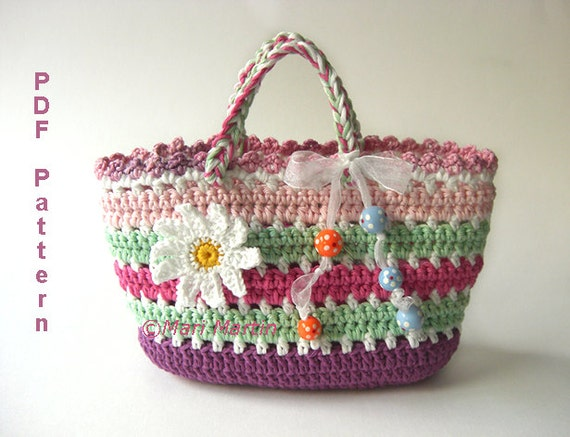 Items similar to Crochet Bag Pattern Girls Purse Daisy Flower Spring ...